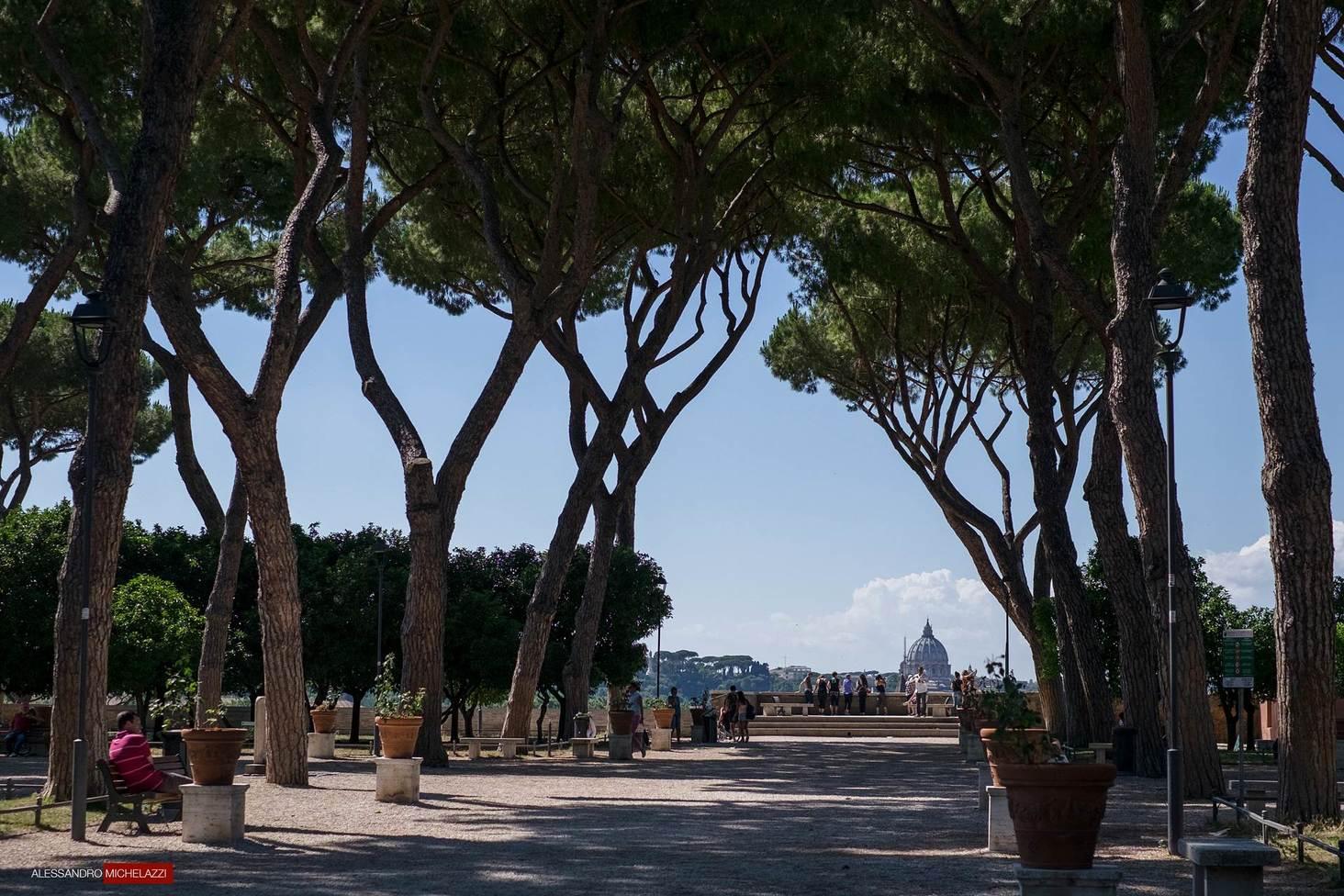 The beautiful view in the Piazzale degli aranci in Rome