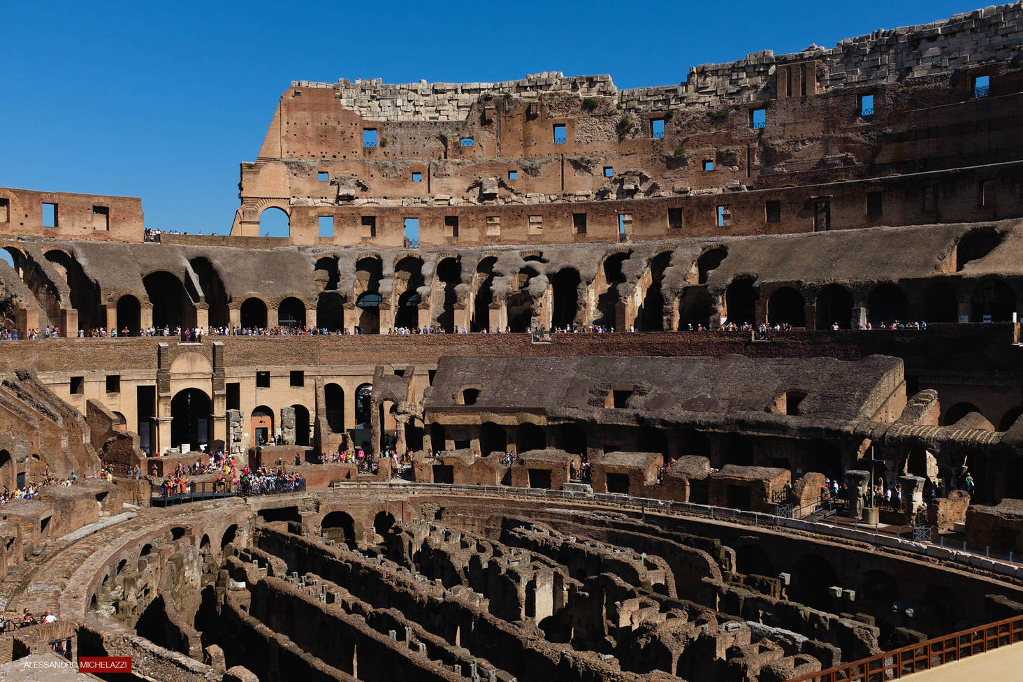 Inside the Colosseo in Rome