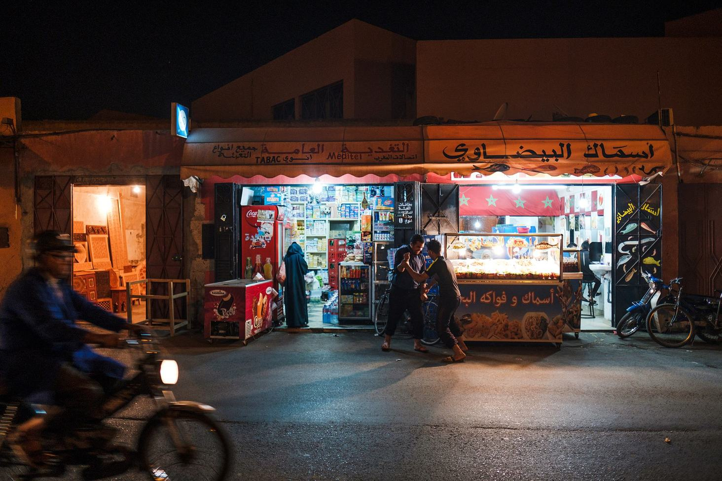 marrakech by night street photo