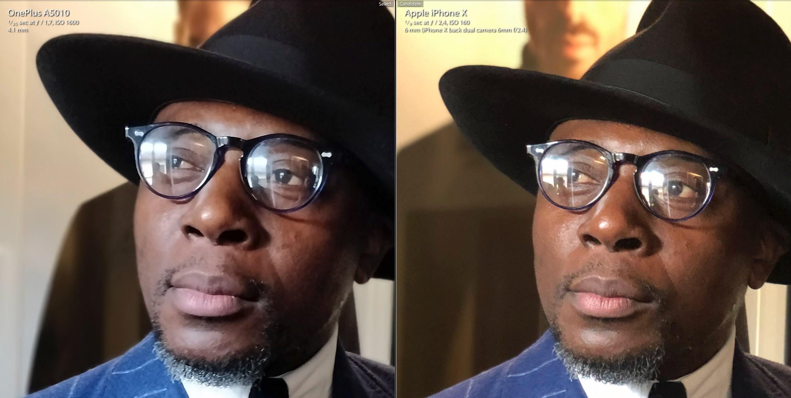 Detail Portrait Mode OnePlus 5T vs iPhone X