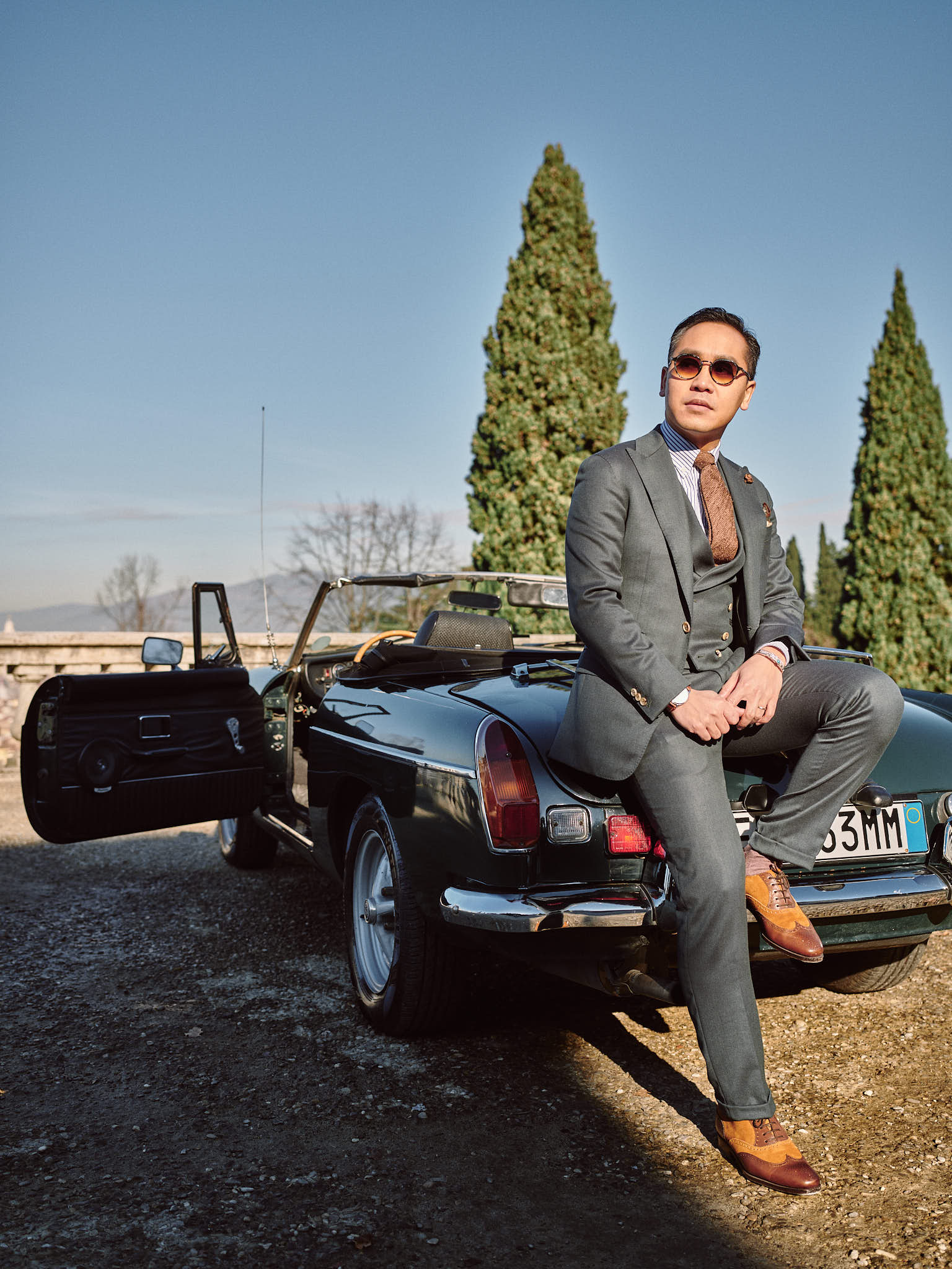Blandin Delloye Florence Italy Street Fashion with MG historic car