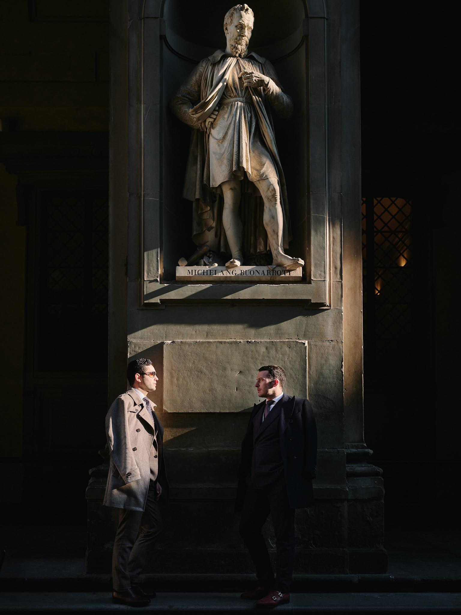 Blandin Delloye Florence Italy Street Fashion with Michelangelo Buonaroti Sculpture